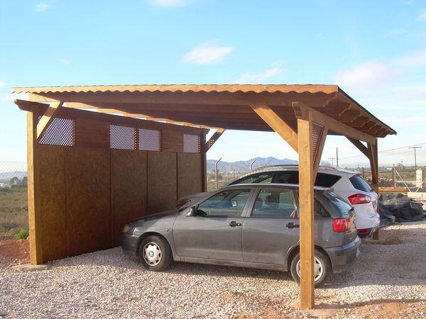 Garaje de madera modelo 09 for Techados para coches